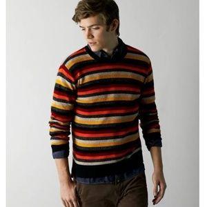 Mens AEO Crew Neck Striped Sweater Size L XL Gray